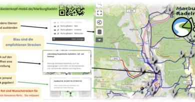 Eine Fahrradkarte für Marburg